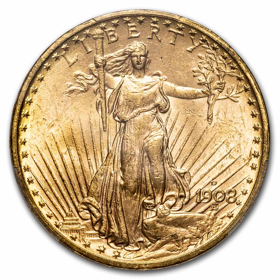 1908-D $20 St. Gaudens Gold No Motto MS-63 PCGS