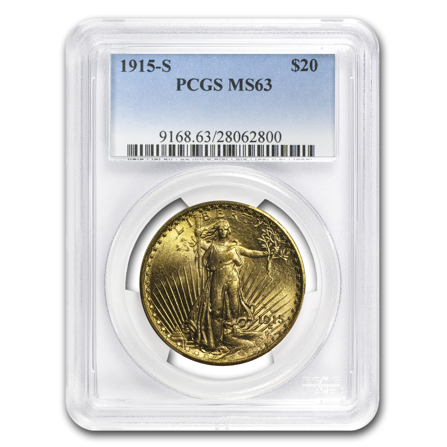 1915-S $20 St. Gaudens Gold Double Eagle MS-63 PCGS
