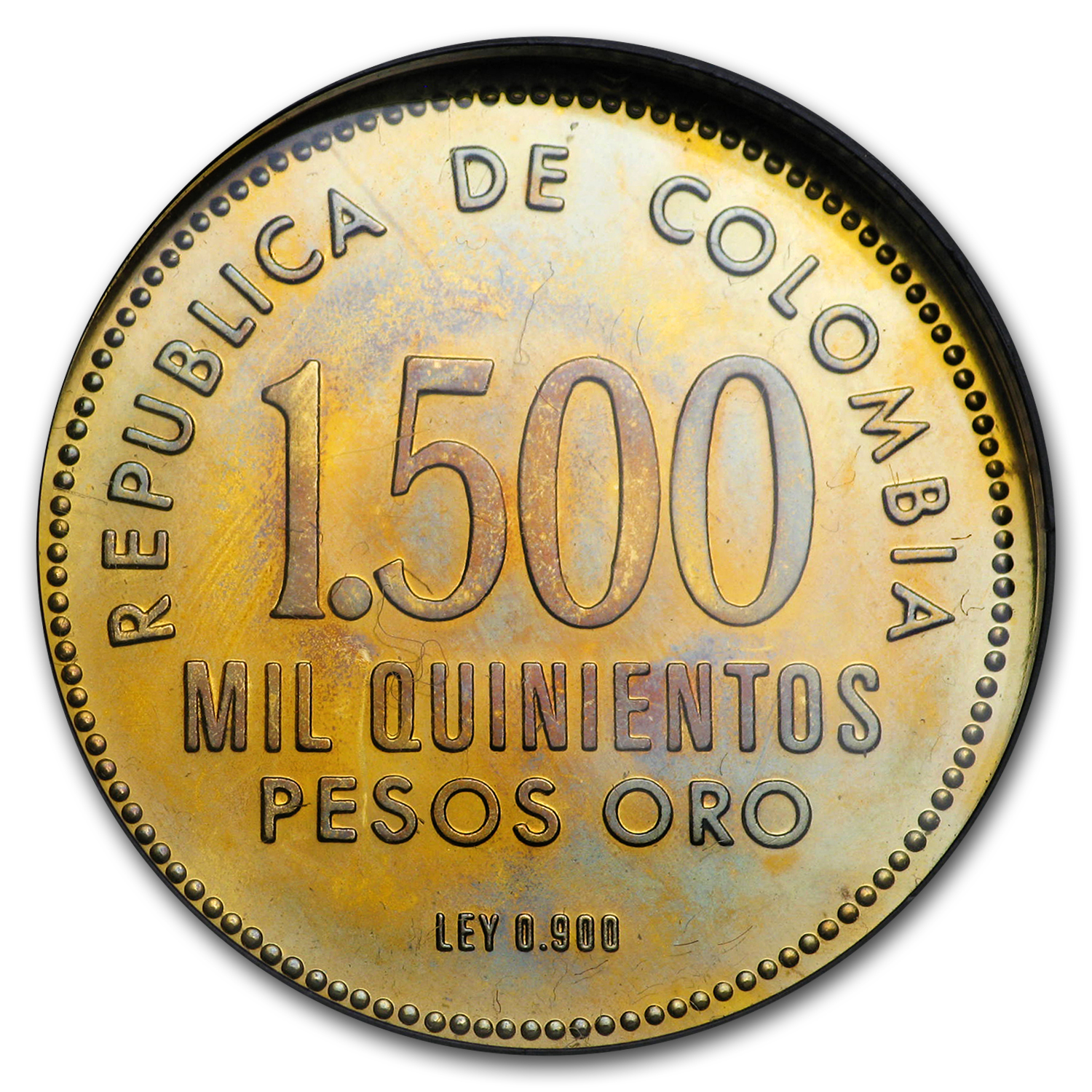 1973 Colombia Proof Gold 1500 Pesos Valencia (Abrasions)