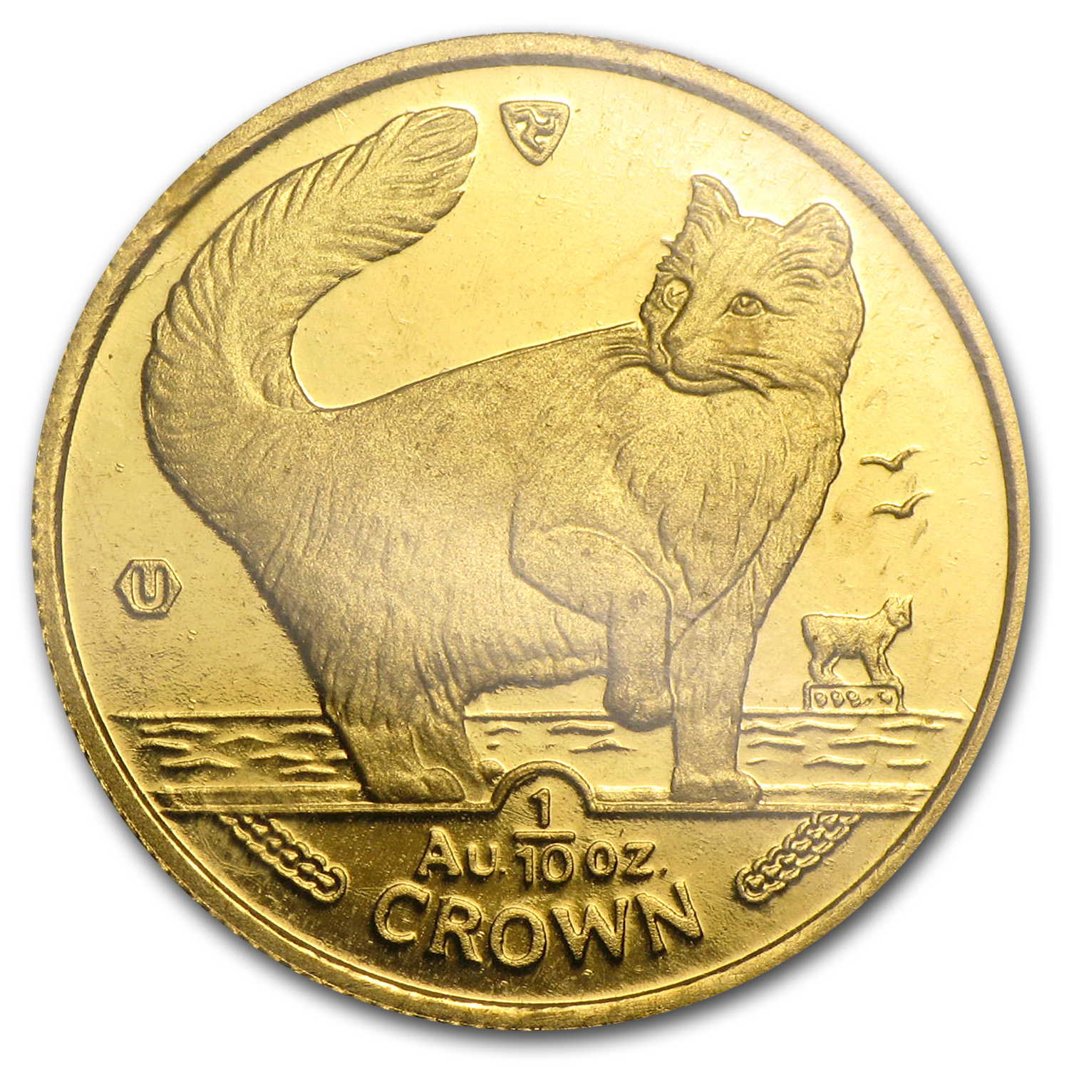 1991 Isle of Man 1/10 oz Gold Norwegian Cat