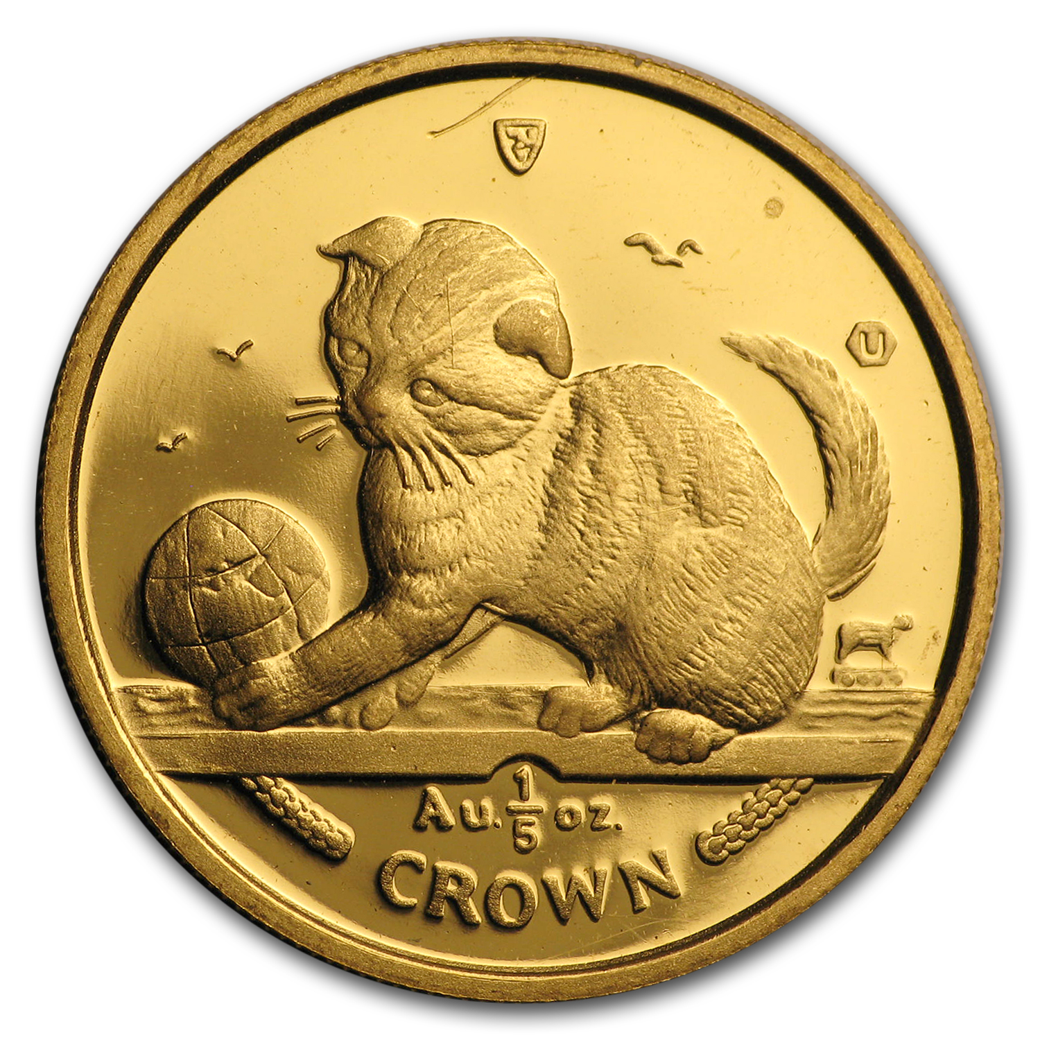 2000 Isle of Man 1/5 oz Gold Scottish Fold Kitten