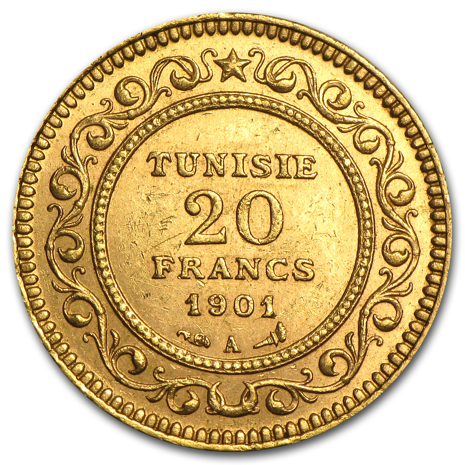 1891-1904 Tunisia Gold 20 Francs XF or Better