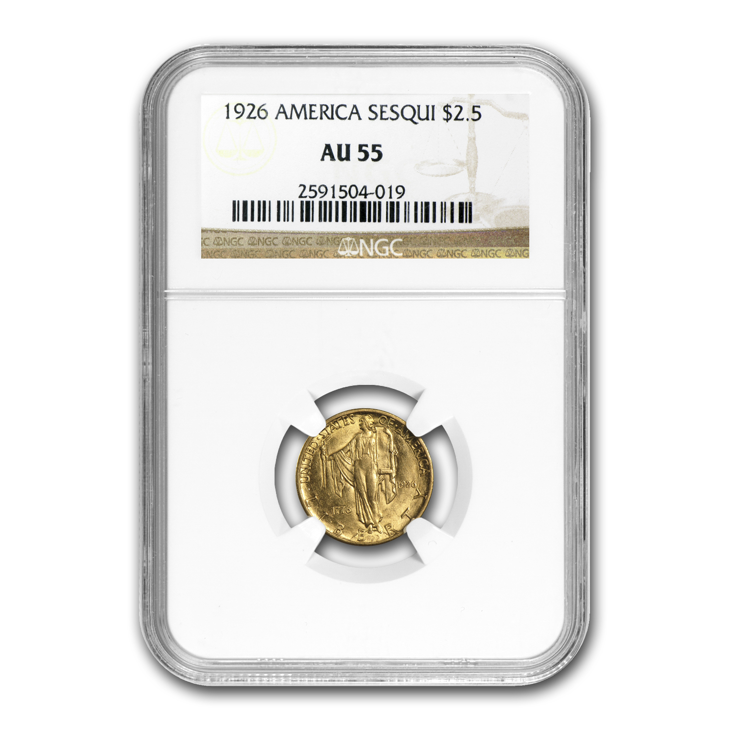 1926 $2.50 Gold America Sesquicentennial AU-55 NGC