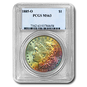 1885-O Morgan Dollar MS-63 PCGS (Beautiful Obv Toning)