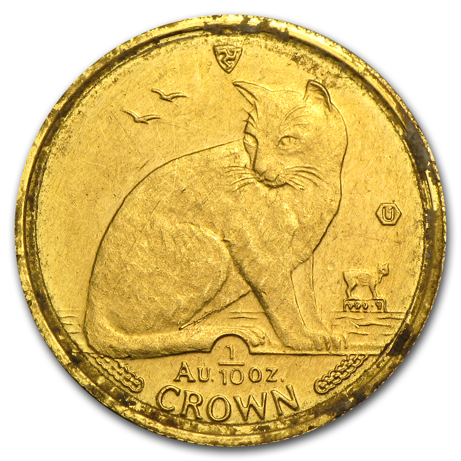 Isle of Man 1/10 oz Gold Cat (Abrasions, Random)