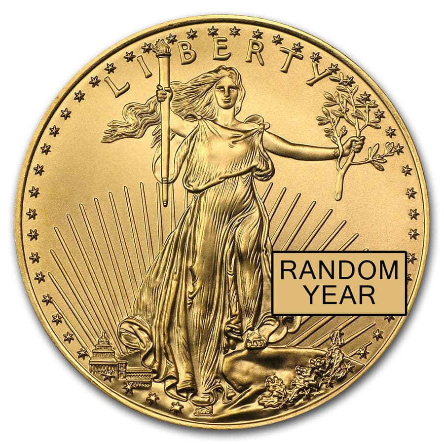 1/2 oz Gold American Eagle (Random Year) (BU)