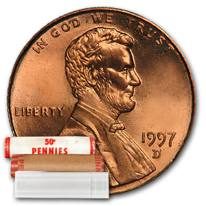 1997-D Lincoln Cent Roll 50-Coin Roll BU
