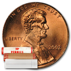 2002 Lincoln Cent 50-Coin Roll BU