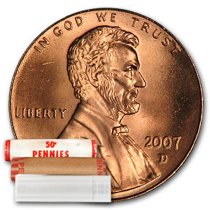 2007-D Lincoln Cent 50-Coin Roll BU
