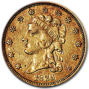 1836 $2.50 Gold Classic Head Block 8 VF Details