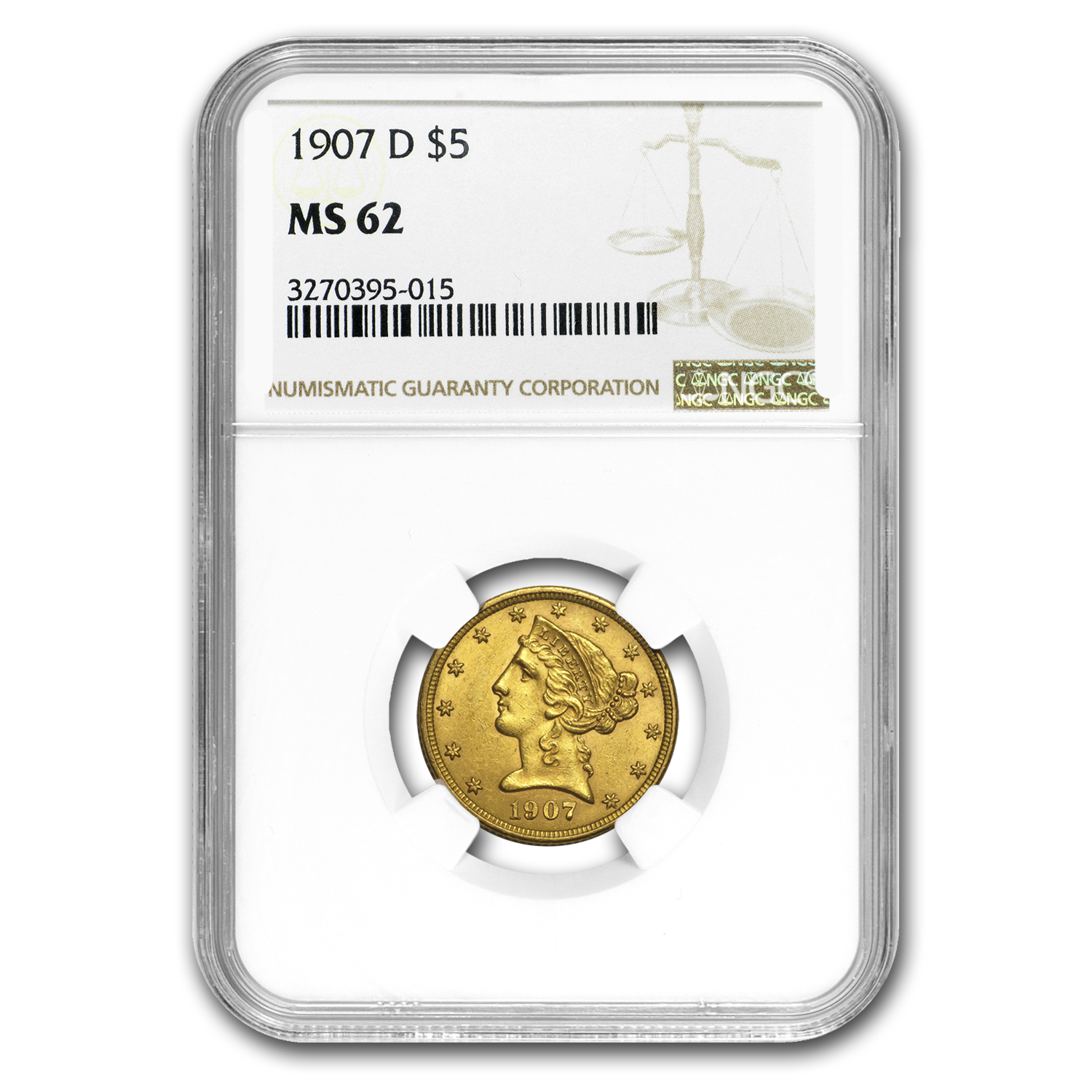 1907-D $5 Liberty Gold Half Eagle MS-62 NGC