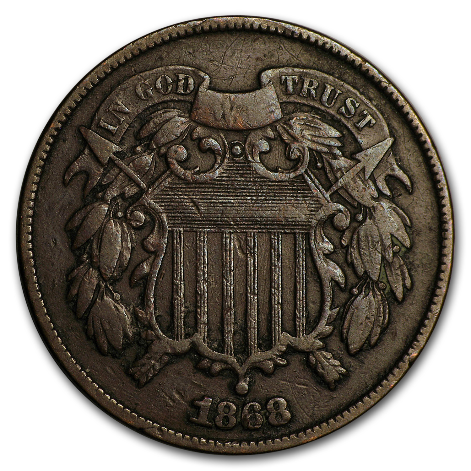 1868 Two Cent Piece VF