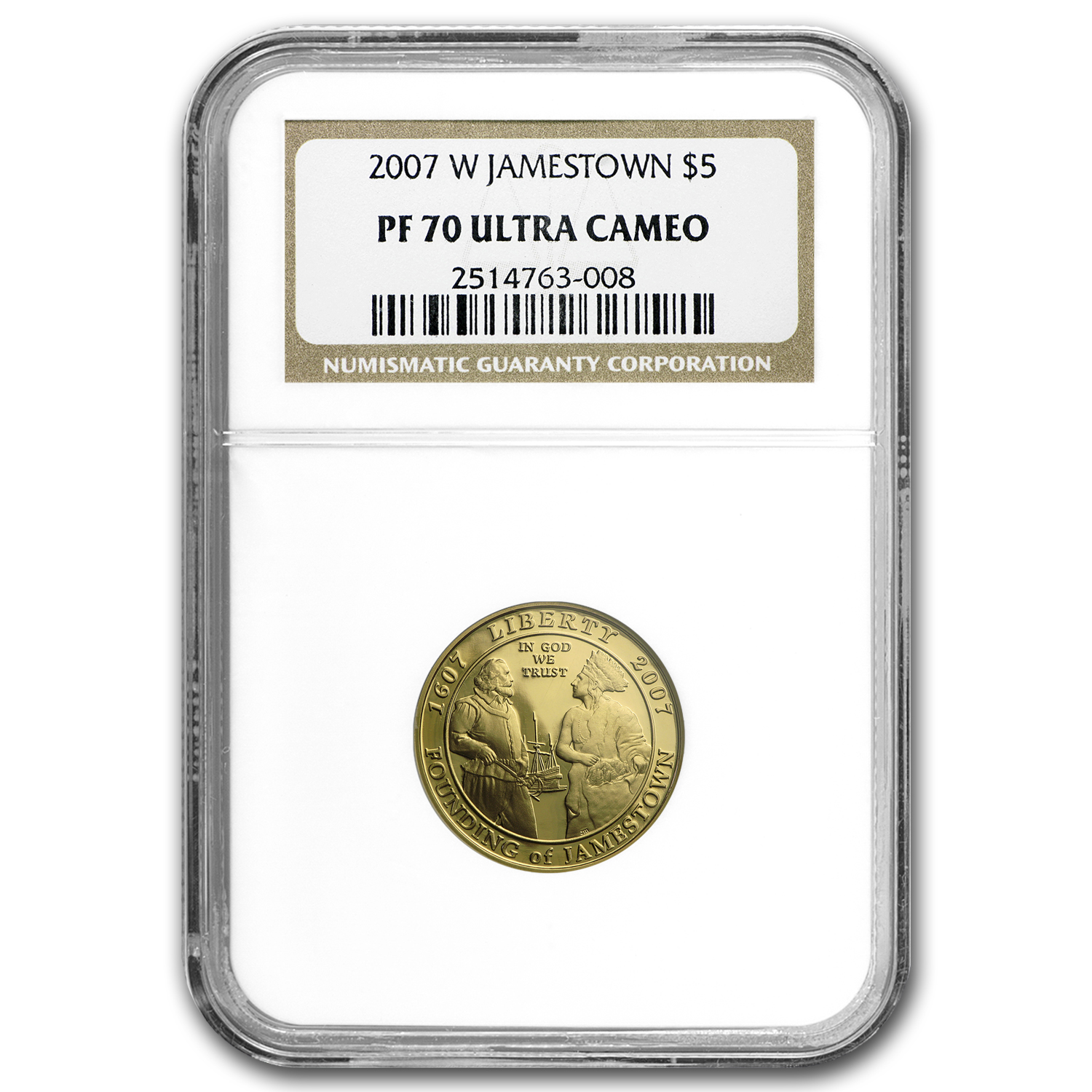 2007-W Jamestown - $5 Gold Commemorative - PF-70 UCAM NGC
