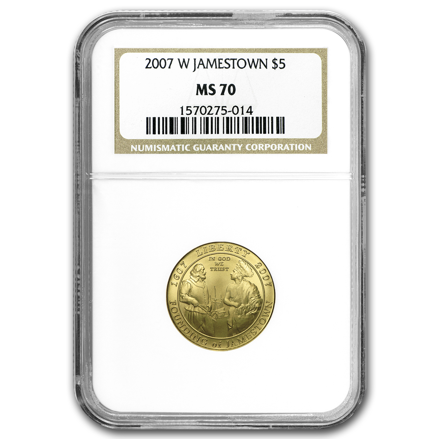 2007-W Gold $5 Commem Jamestown MS-70 NGC