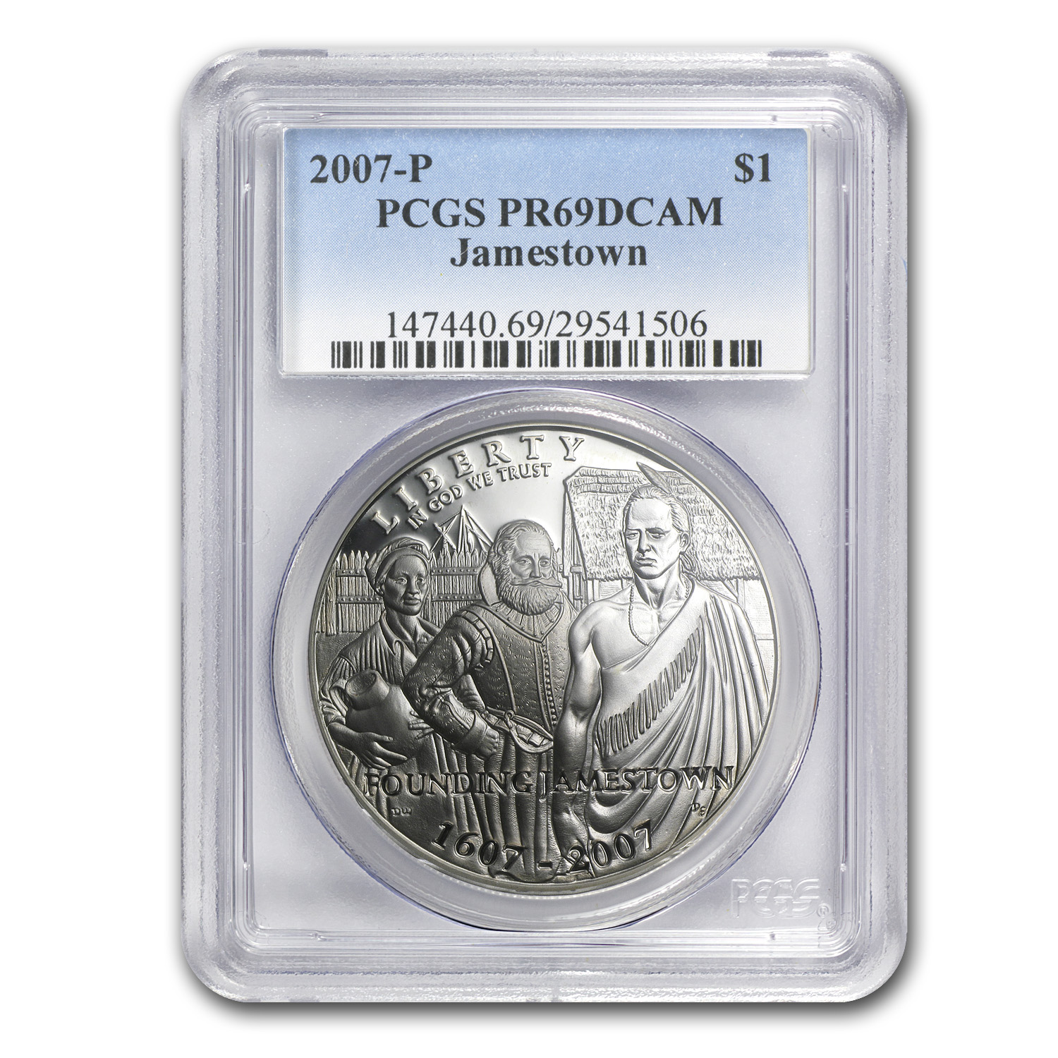 2007 P Jamestown 400th Anniv 1 Silver Commem Pr 69 Pcgs