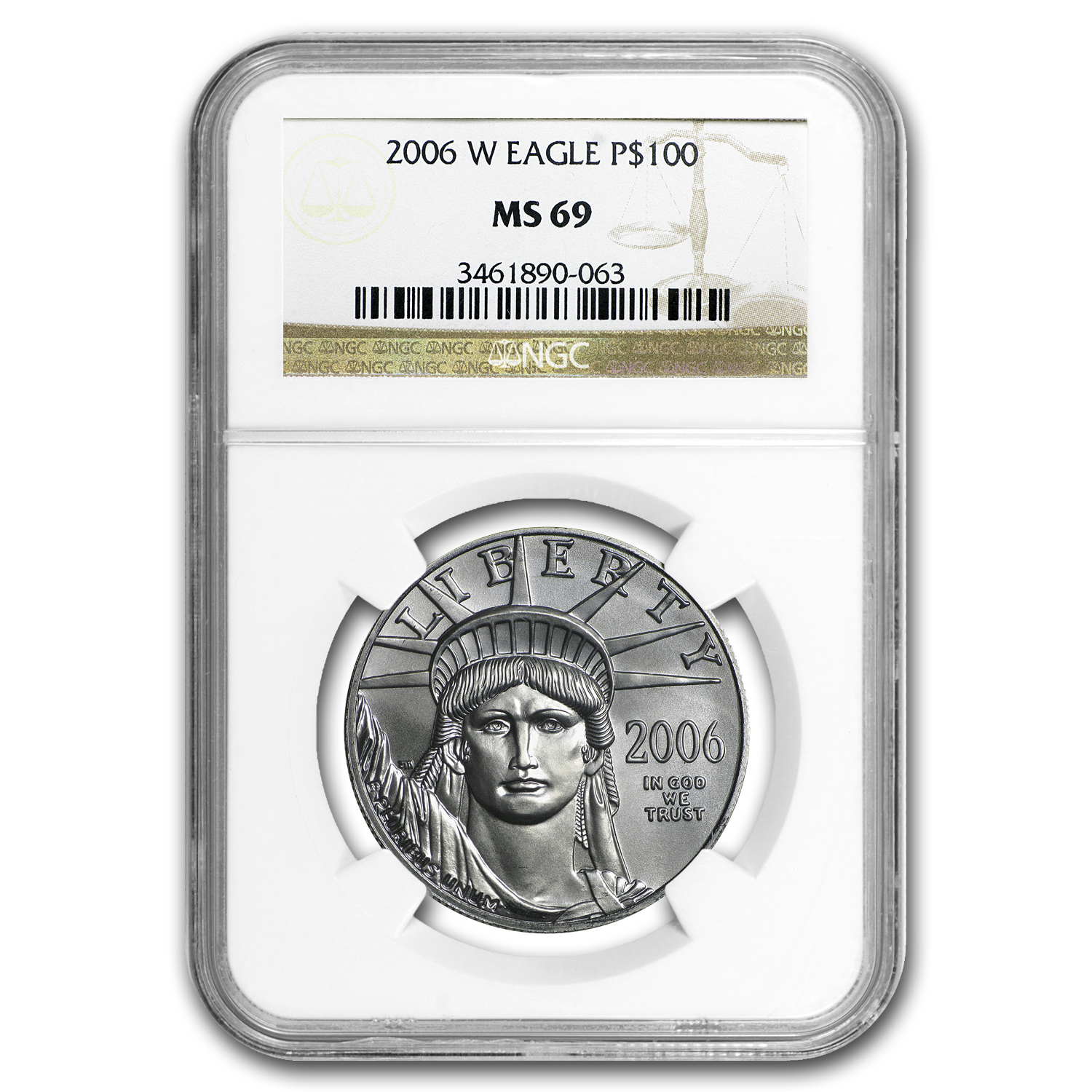 2006-W 1 oz Burnished Platinum American Eagle MS-69 NGC