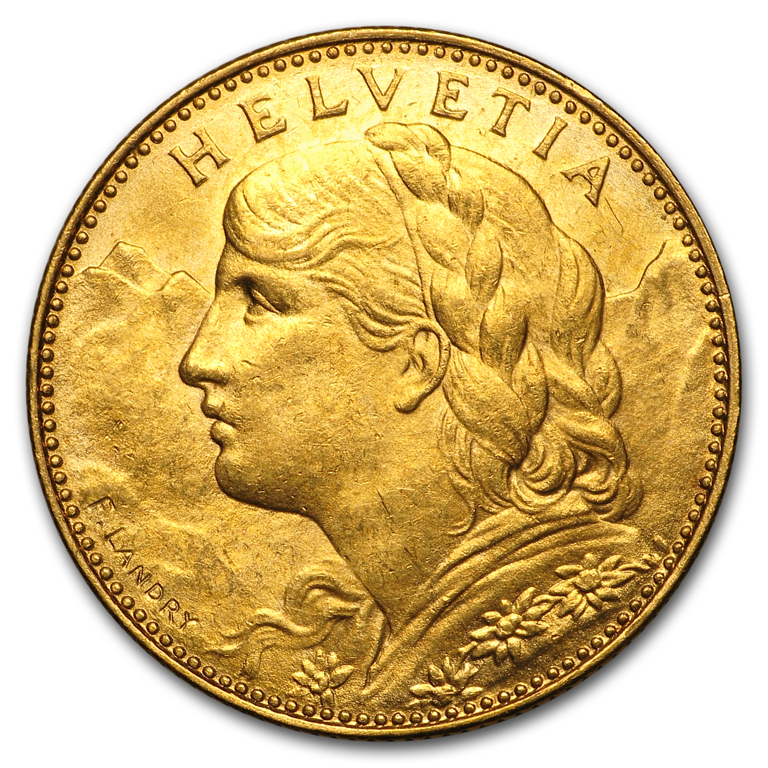 1911-1922 Switzerland Gold 10 Francs XF/AU