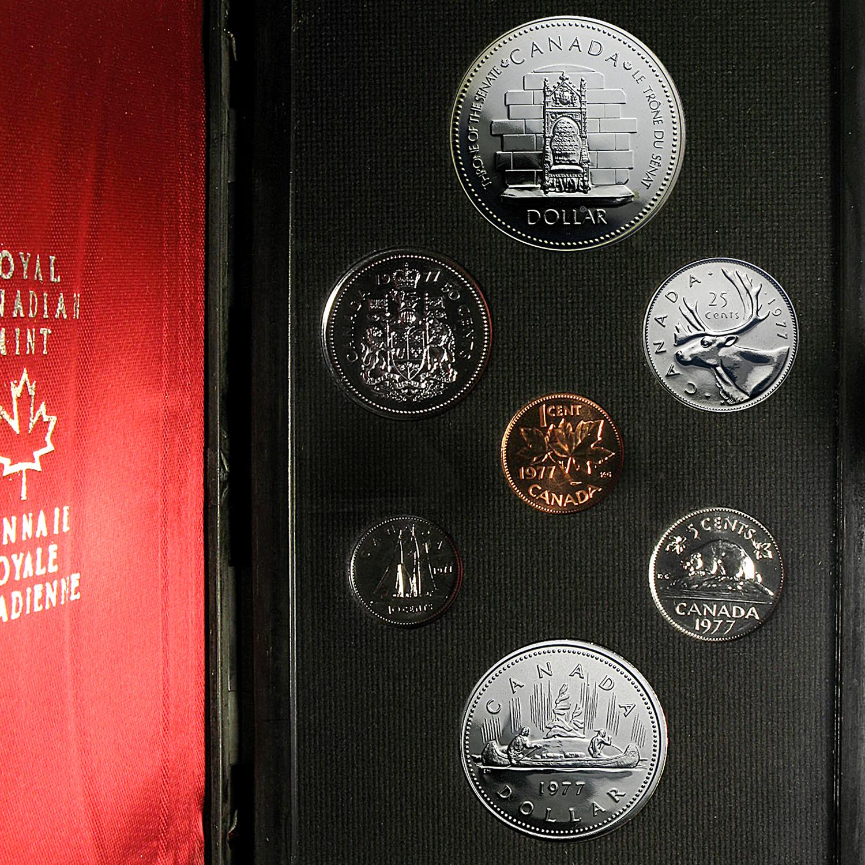1977 Canada 7 Coin Specimen Set Canadian Mint Amp Proof