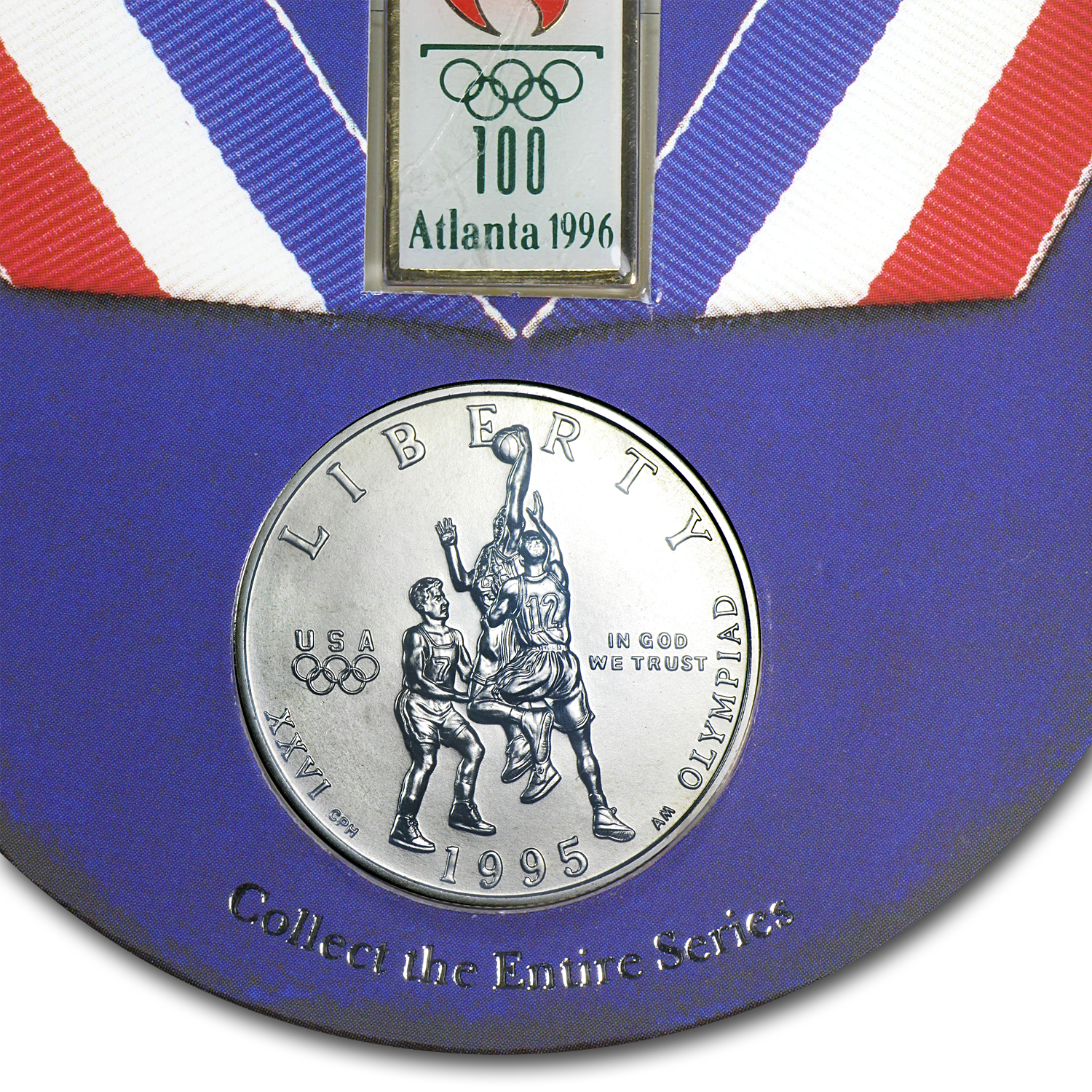 1995-S Olympic Basketball 1/2 Dollar Clad Comm BU (Pin/Pendant)