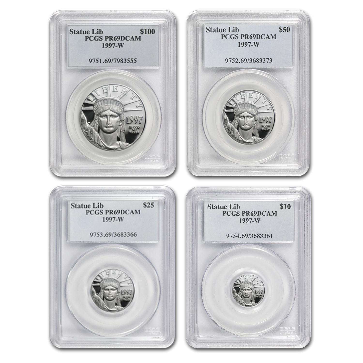 1997-W 4-Coin Proof Platinum American Eagle Set PR-69 PCGS