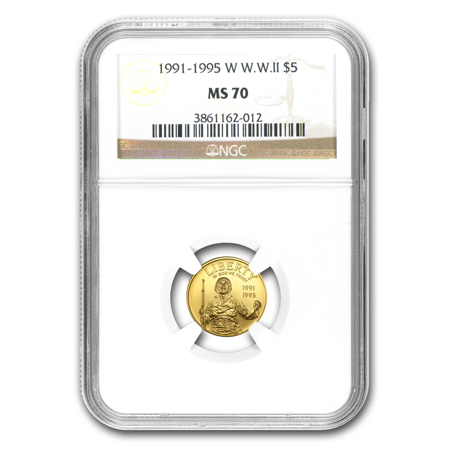 1993-W Gold $5 Commem World War II MS-70 NGC