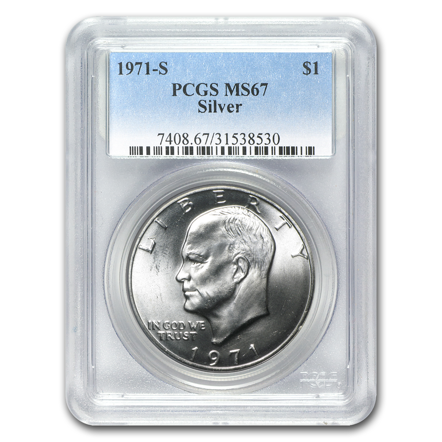 1971-S Eisenhower Silver Dollar MS-67 - PCGS - Registry Coin