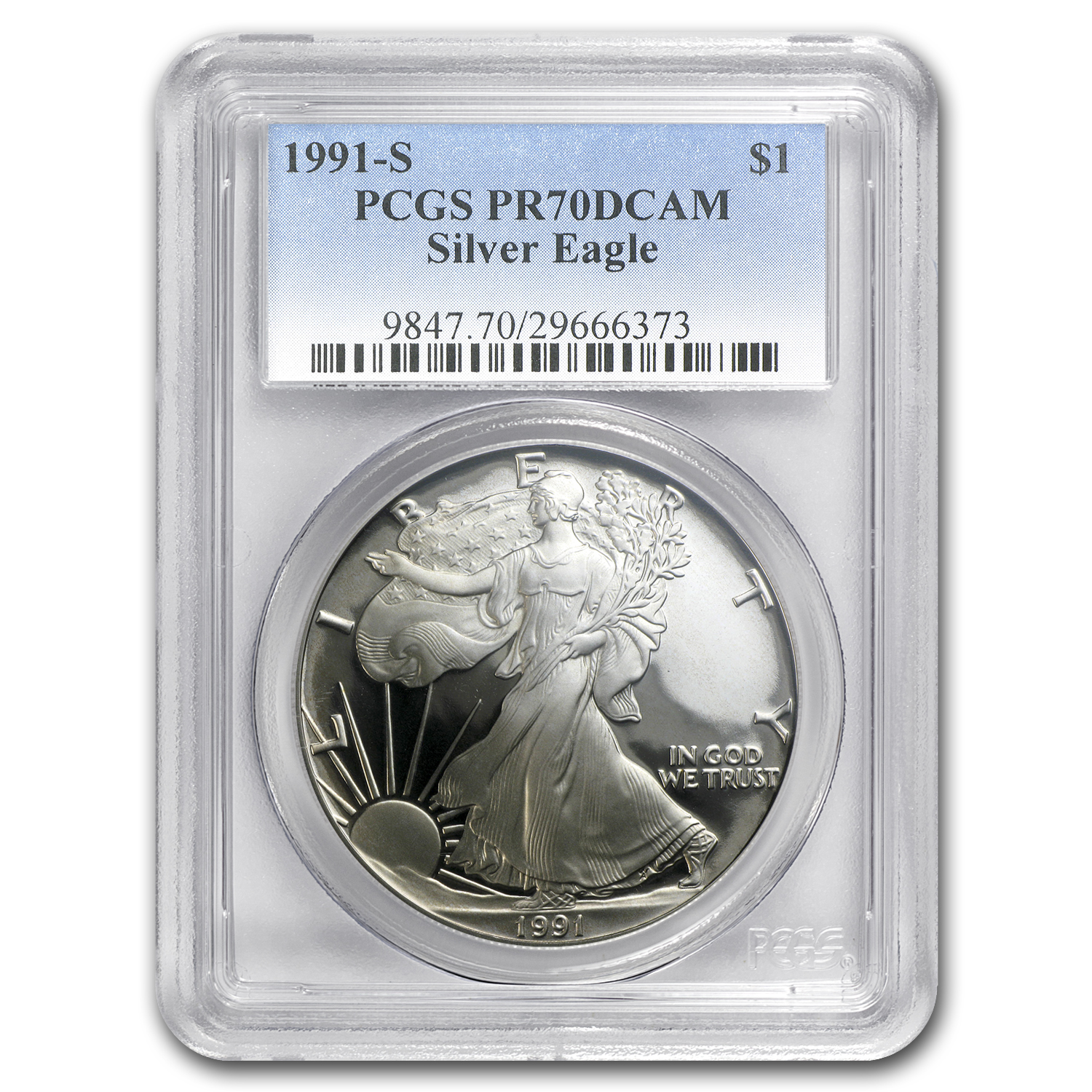 1991-S Proof Silver American Eagle PR-70 PCGS (Registry Set)