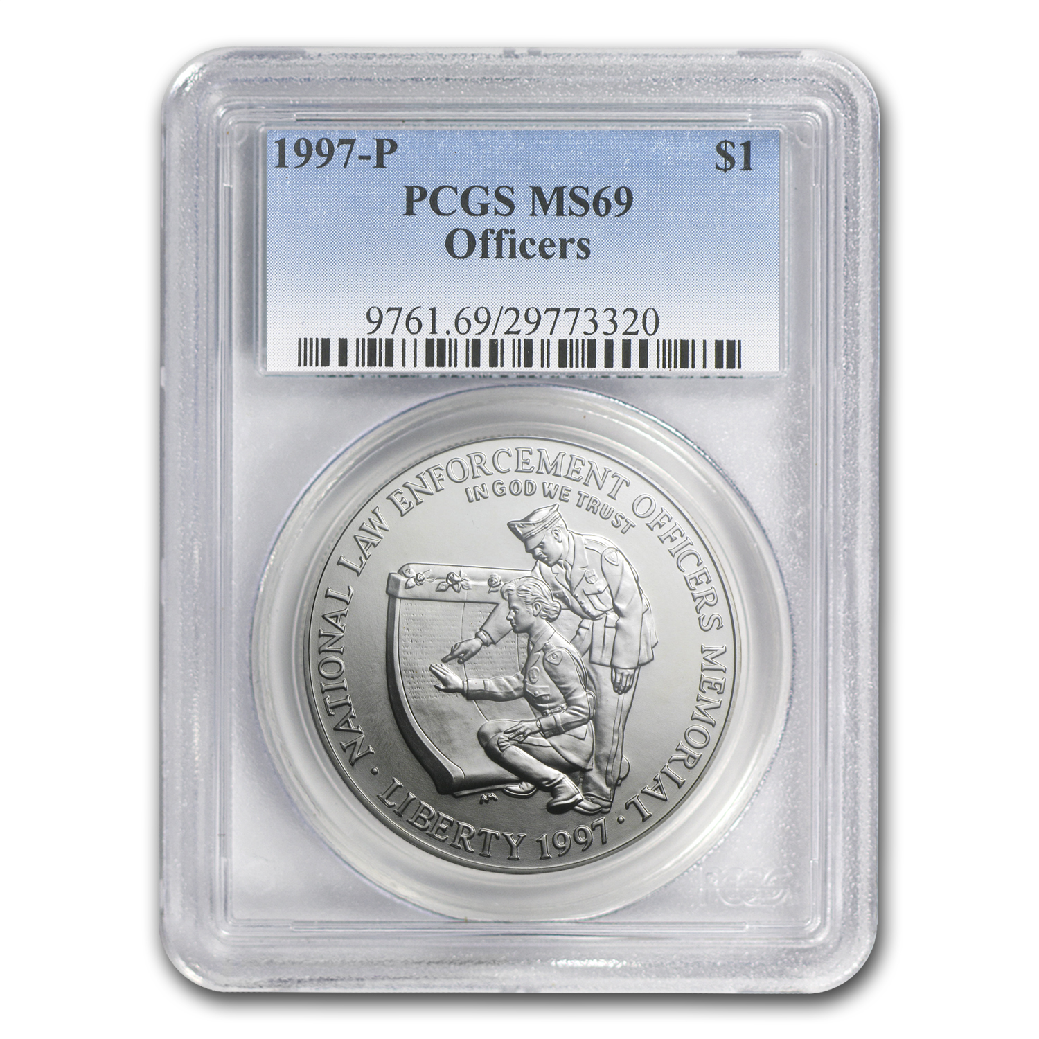 1997-P Law Enforcement $1 Silver Commemorative - MS-69 PCGS