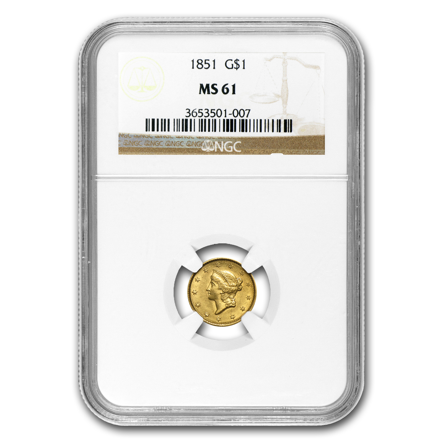 1851 $1 Liberty Head Gold MS-61 NGC