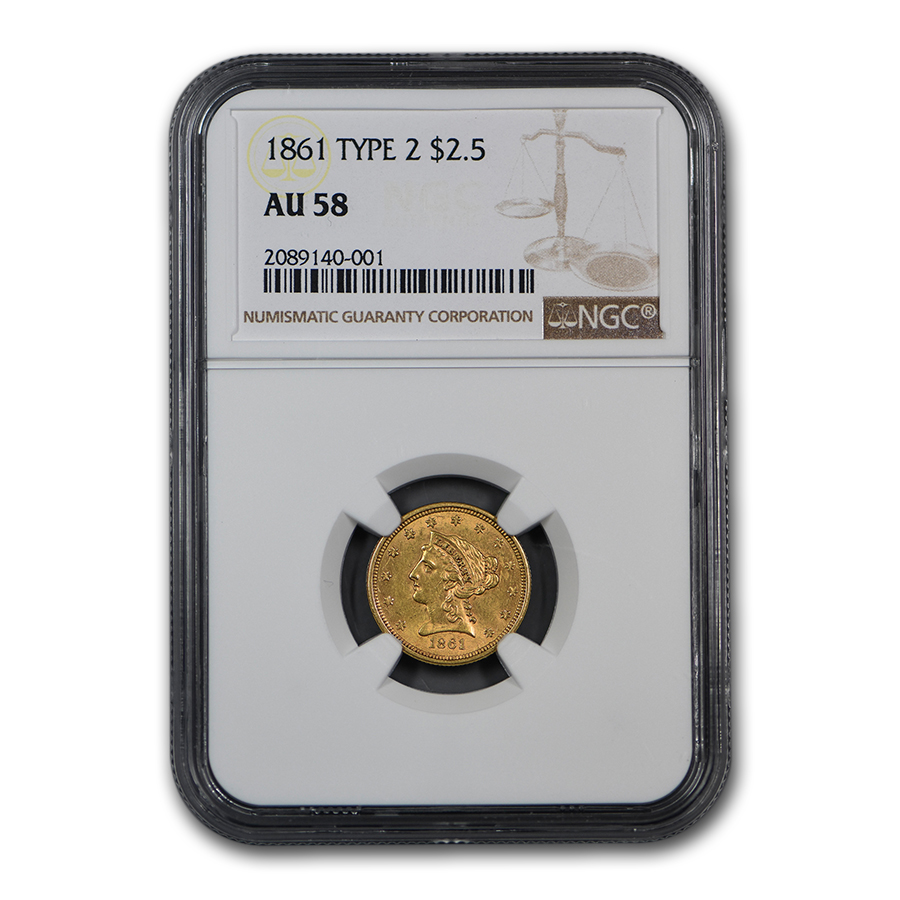 1861 $2.50 Liberty Gold Quarter Eagle Type 2 Rev AU-58 NGC