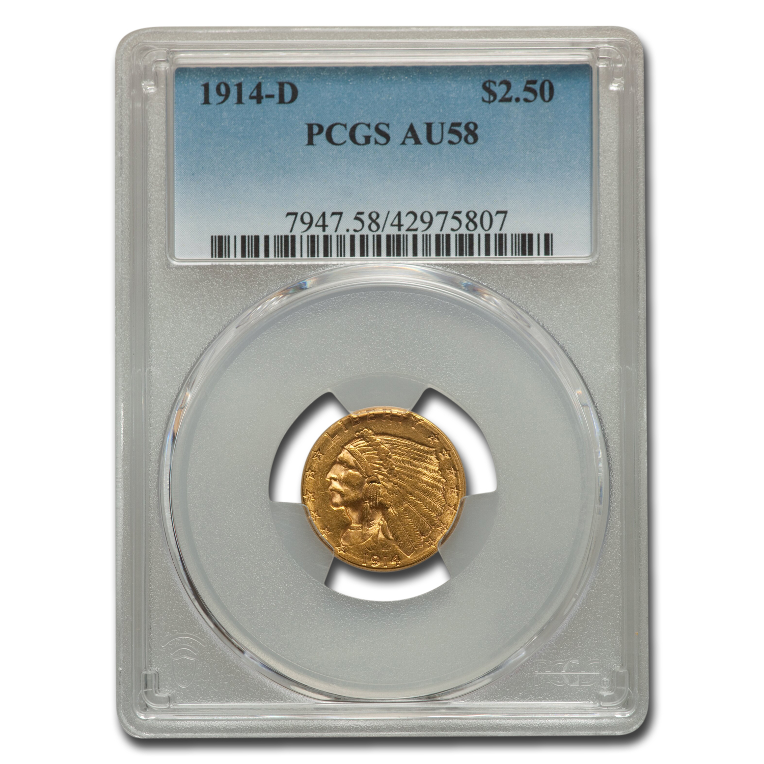 1914-D $2.50 Indian Gold Quarter Eagle - AU-58 PCGS