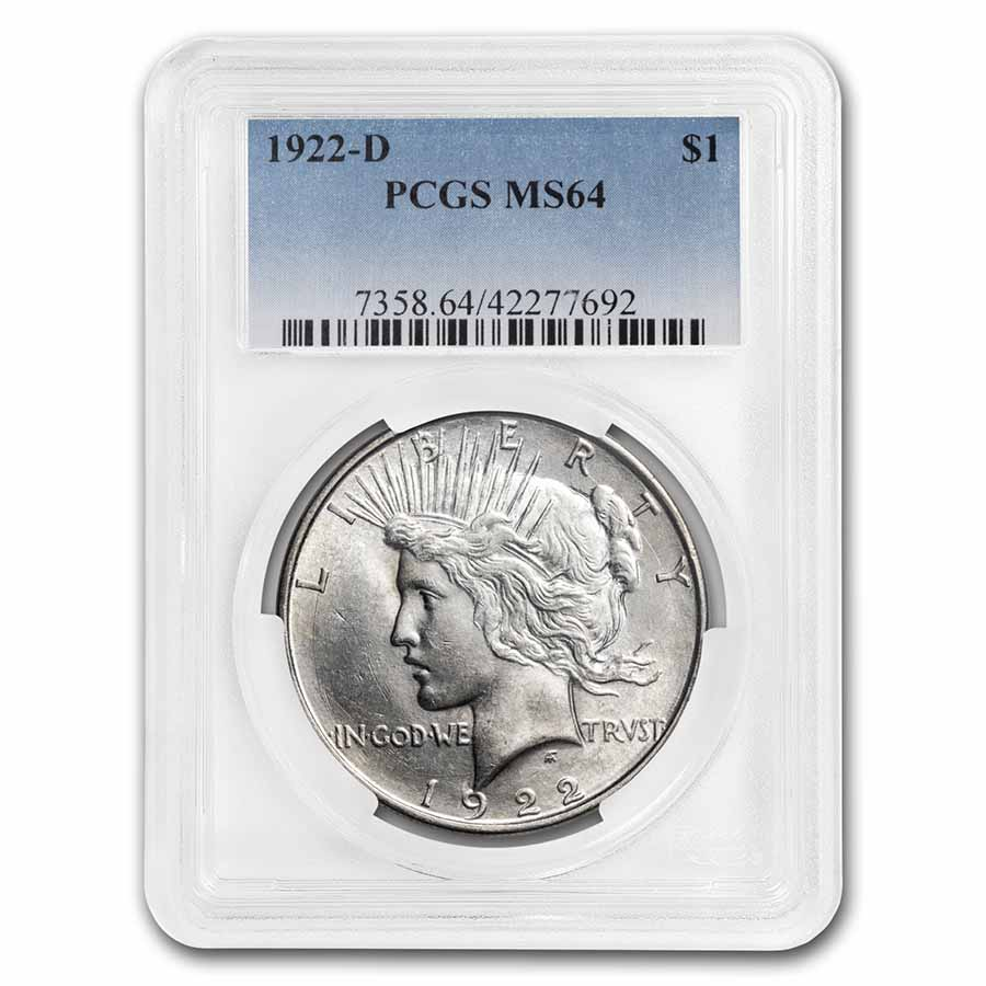 1922-D Peace Dollar MS-64 PCGS