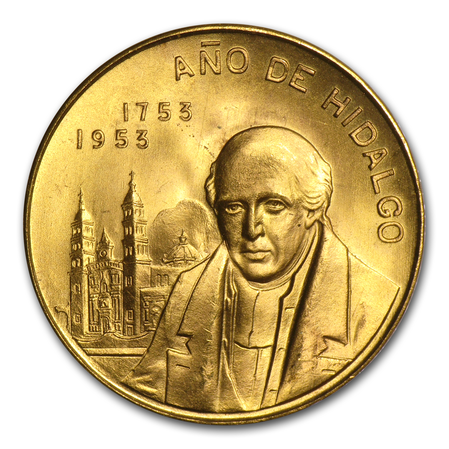 1953 Mexico Gold Year of Hidalgo Medal BU
