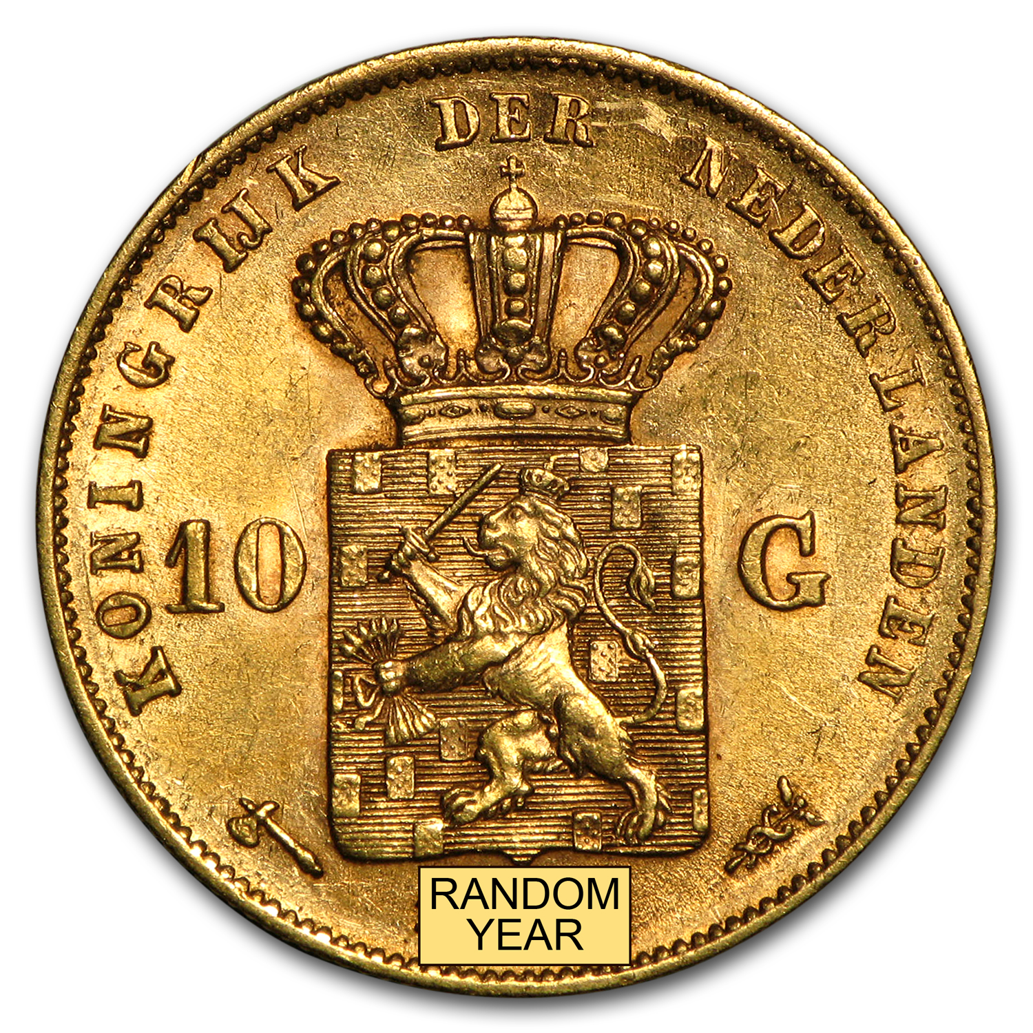1875-1889 Netherlands Gold 10 Gulden Willem AU or Better