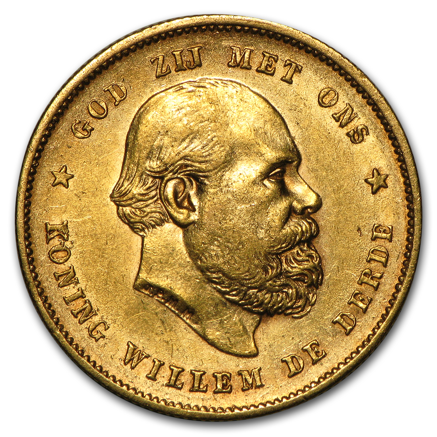 Netherlands 1875-1889 10 Gulden Gold Willem AU or Better