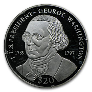 2000 Liberia Silver $20 George Washington Proof