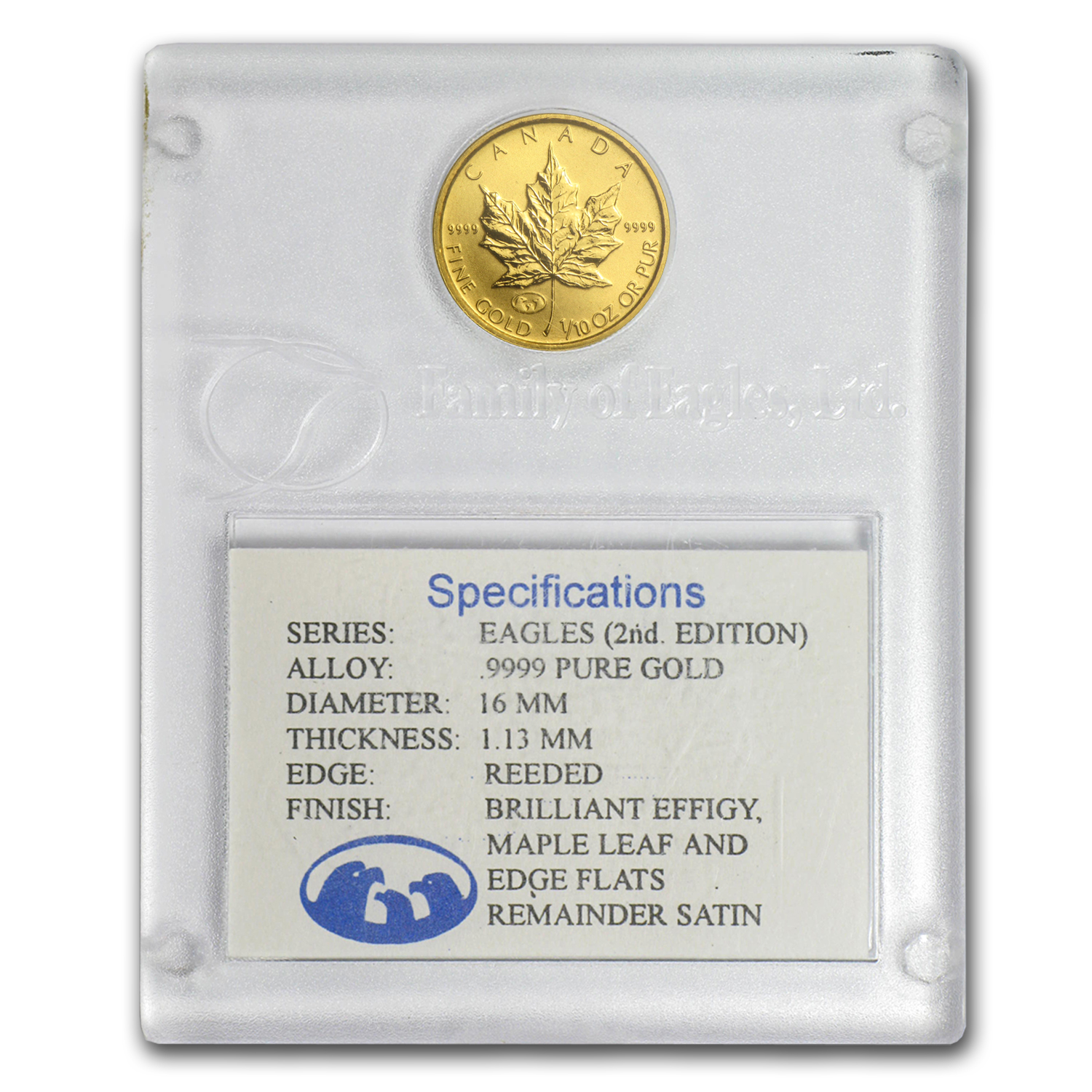 1998 Can 1/10 oz Gold Maple Leaf BU (Family of Eagles, In Assay)