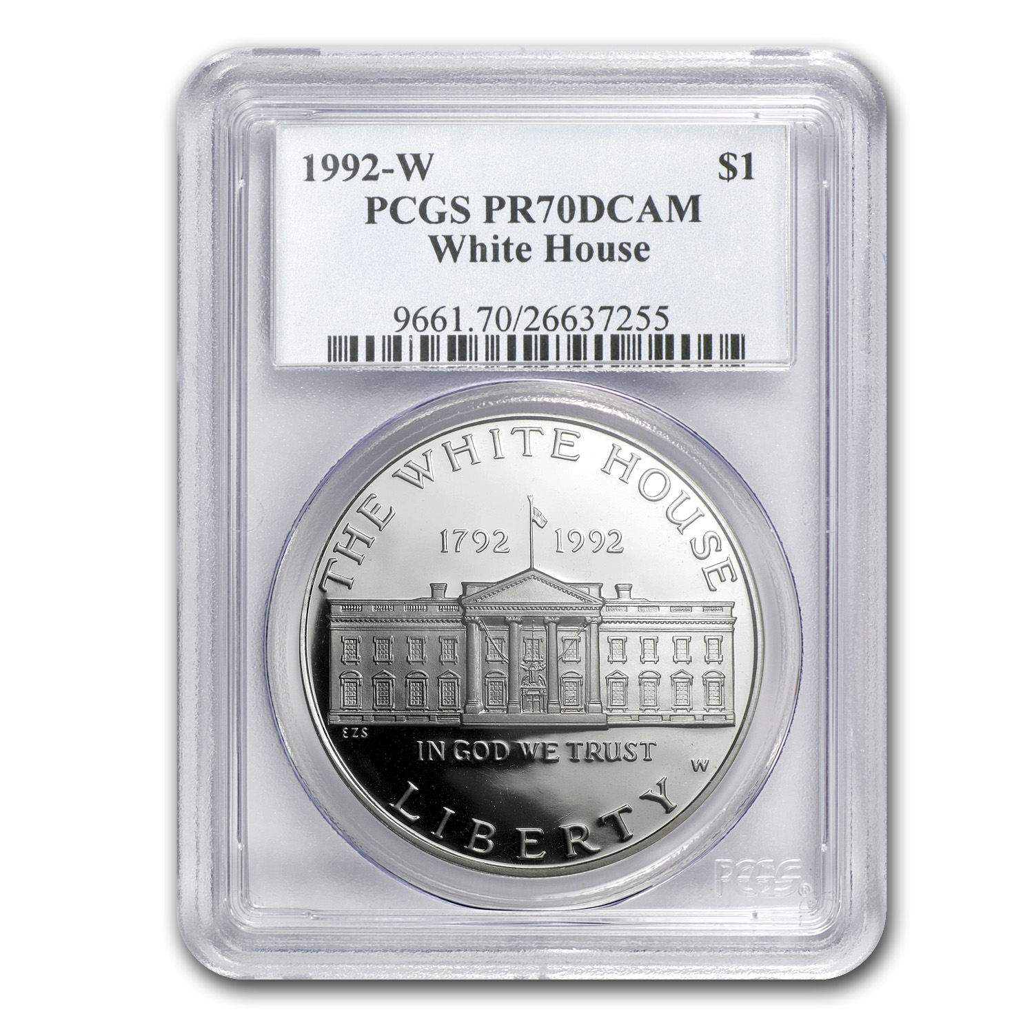 1992-W White House $1 Silver Commemorative PR-70 PCGS