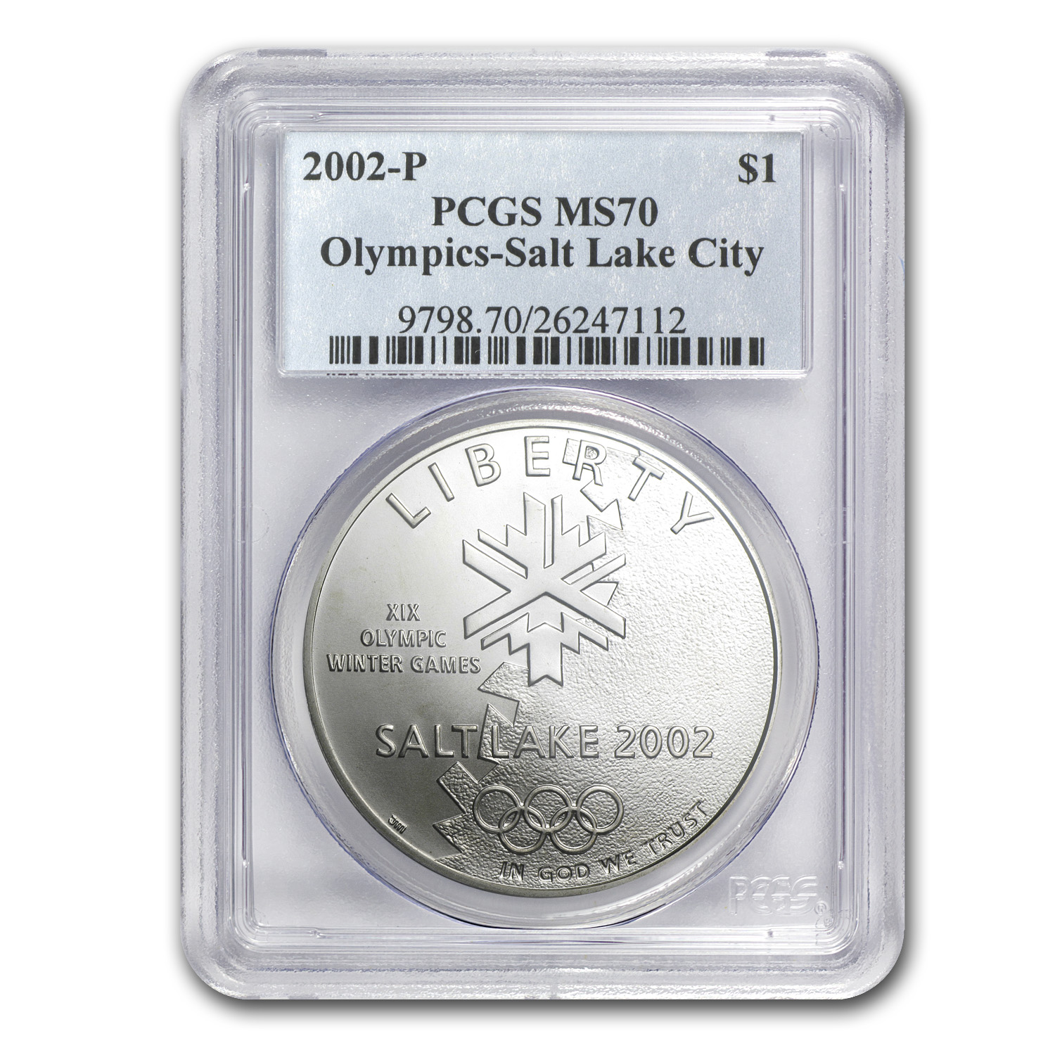 2002-P Olympic Winter Games $1 Silver Commemorative MS-70 PCGS