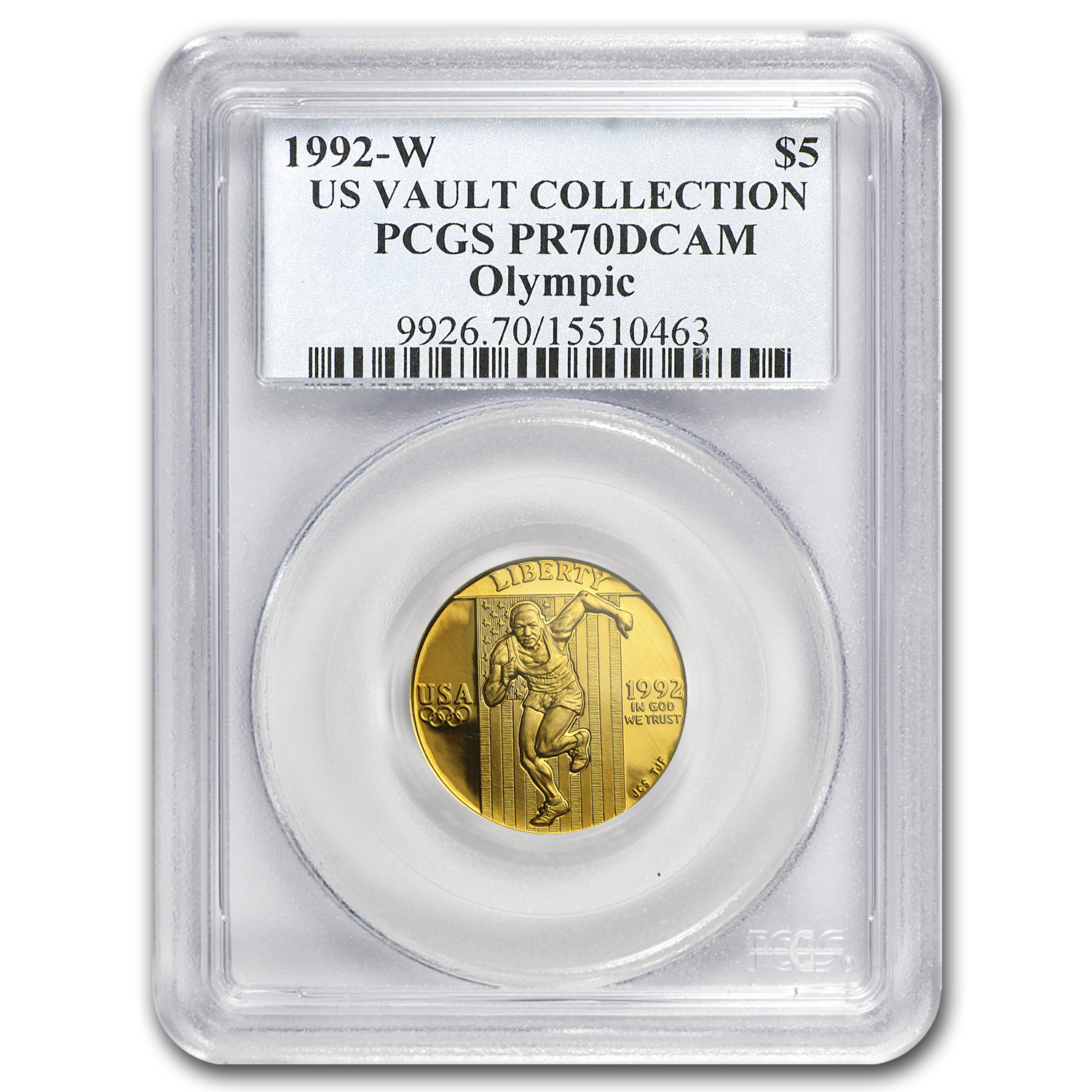 1992-W Gold $5 Commem Olympic PR-70 PCGS