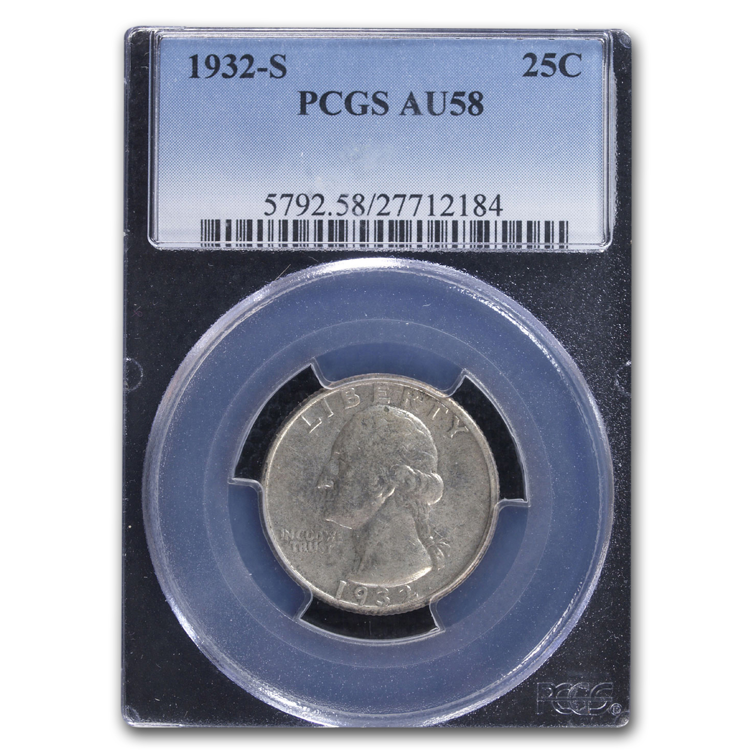 1932-S Washington Silver Quarter AU-58 PCGS