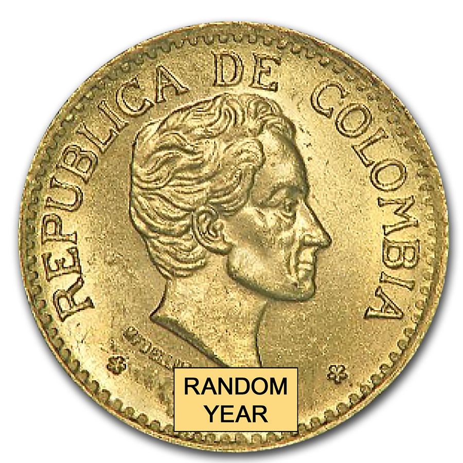 Colombia 1924-1930 5 Pesos Gold Uncirculated