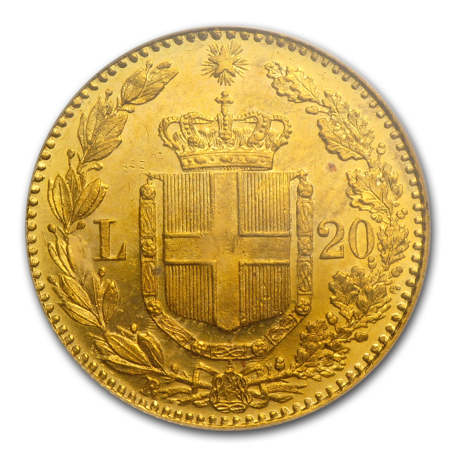 1882 Italy Gold 20 Lire MS-64 NGC/PCGS