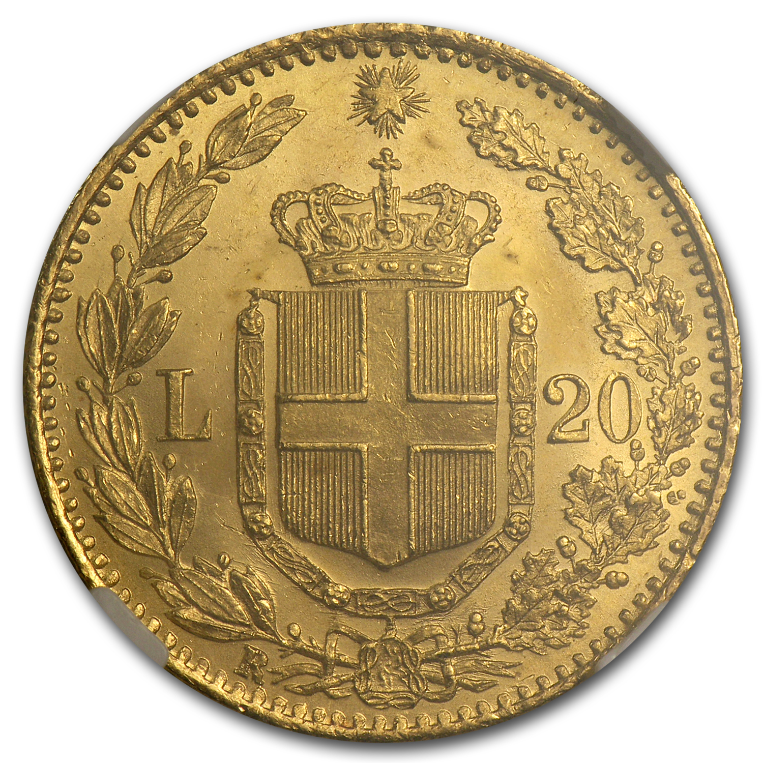 1882 Italy Gold 20 Lire MS-64 NGC