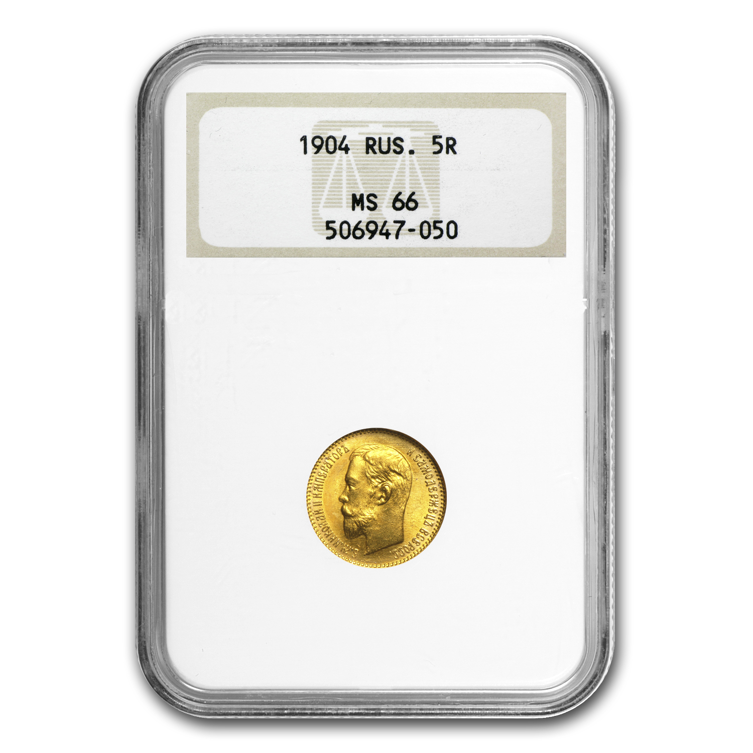 1904 Russia Gold 5 Roubles Nicholas II MS-66 NGC