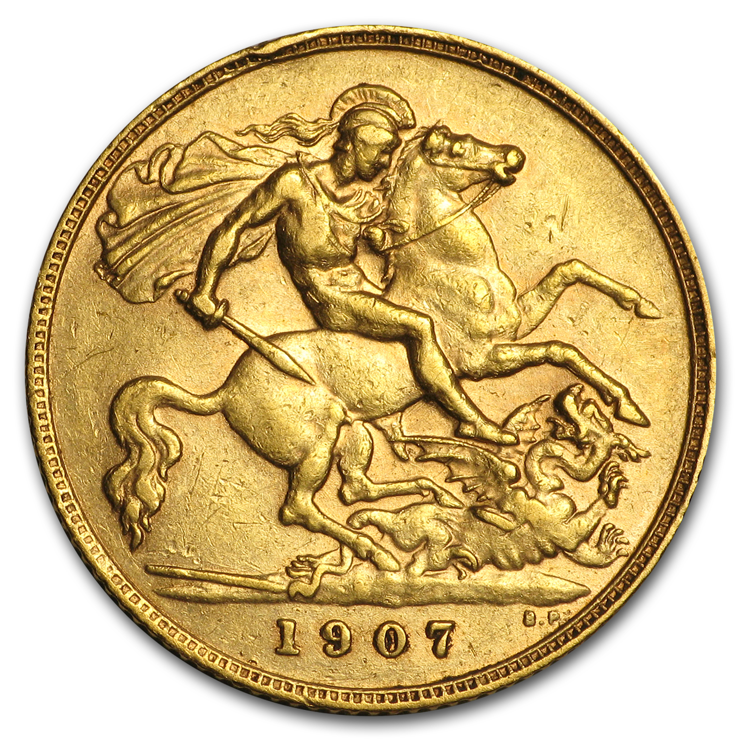 1902-1910 Great Britain Gold 1/2 Sovereign Edward VII Avg Circ