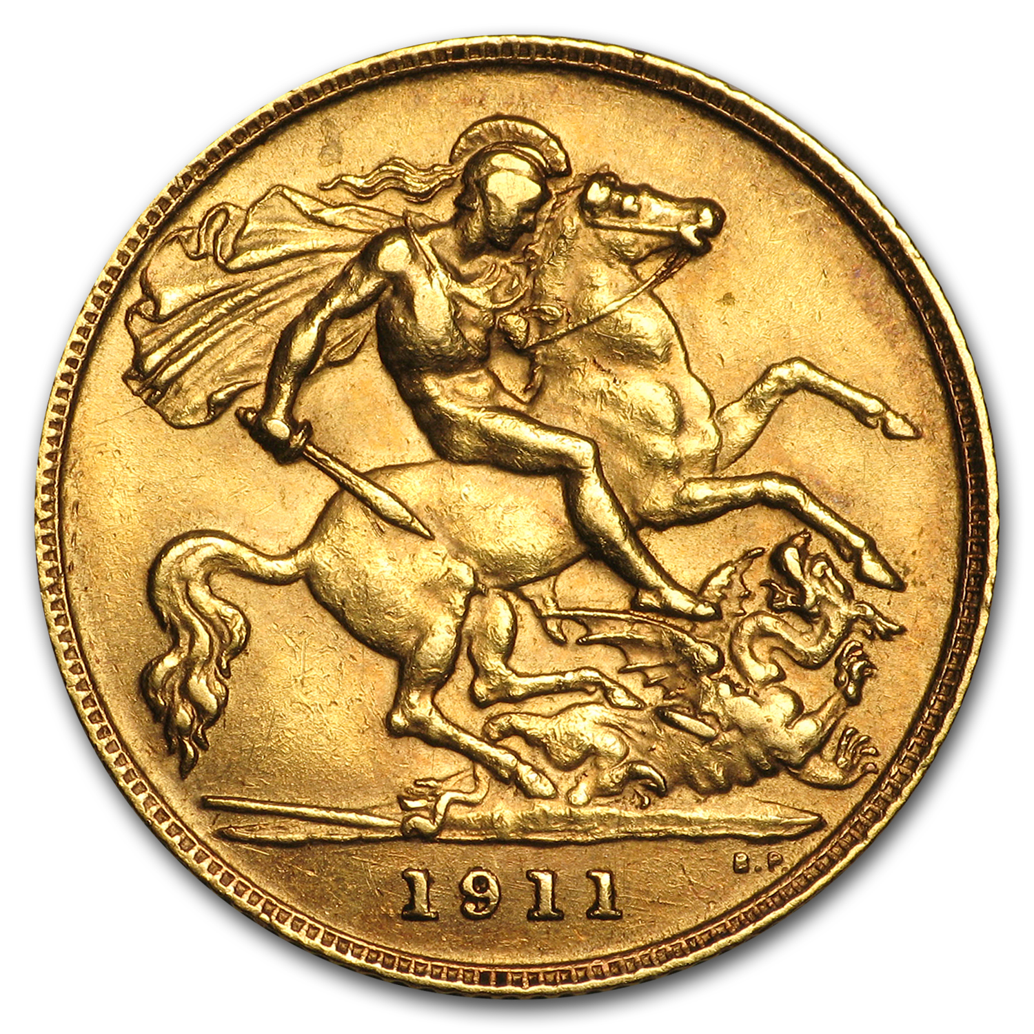 1911-1925 Great Britain Gold 1/2 Sovereign George V Avg Circ