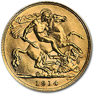 1911-1925 Great Britain Gold 1/2 Sovereign George V XF