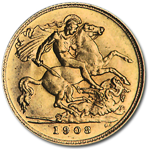 1908 Great Britain Gold 1/2 Sovereign Edward VII AU