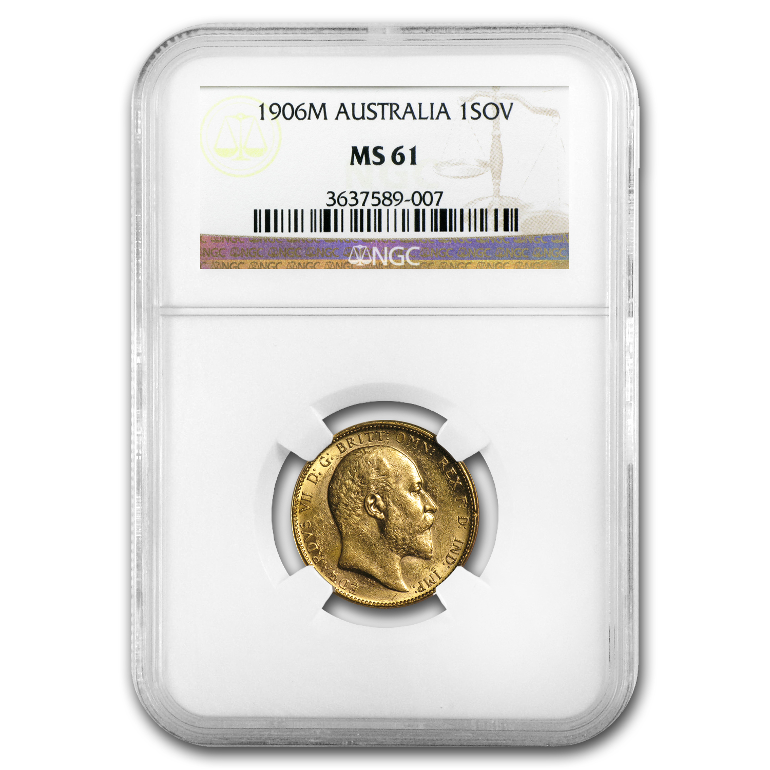 Australia 1906 Sovereign Edward VII NGC MS-61